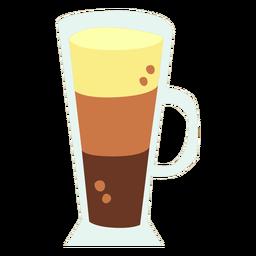 Capuccino coffee glass cup flat