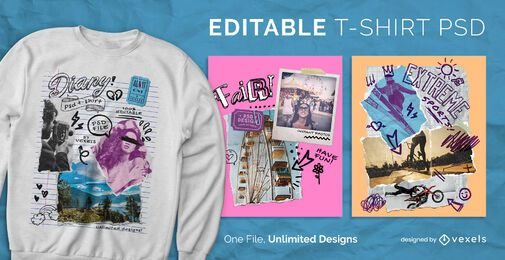 Retro collage scribbles scalable t-shirt psd