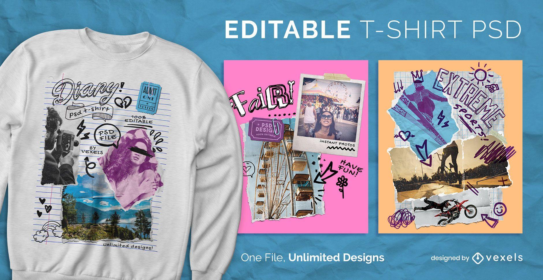 Retro collage garabatos camiseta escalable psd