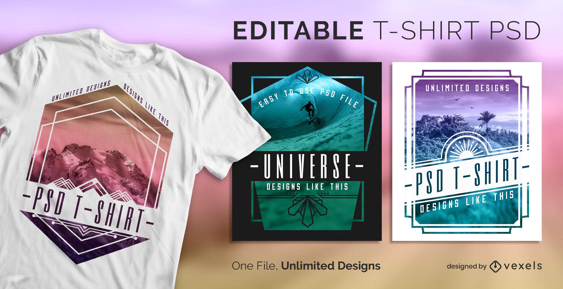 Camiseta escalable con insignia de naturaleza geométrica psd