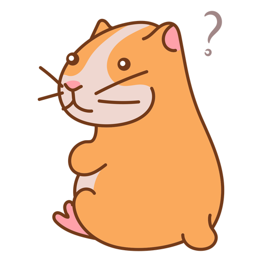 Sitting hamster cute with question sign
