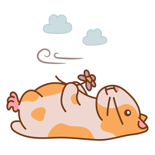 Laid down hamster with flower cute