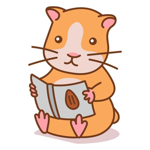 Cute hamster reading color