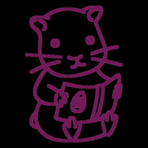Cute hamster reading stroke