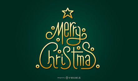 Elementos de letras de árbol de Navidad dorado