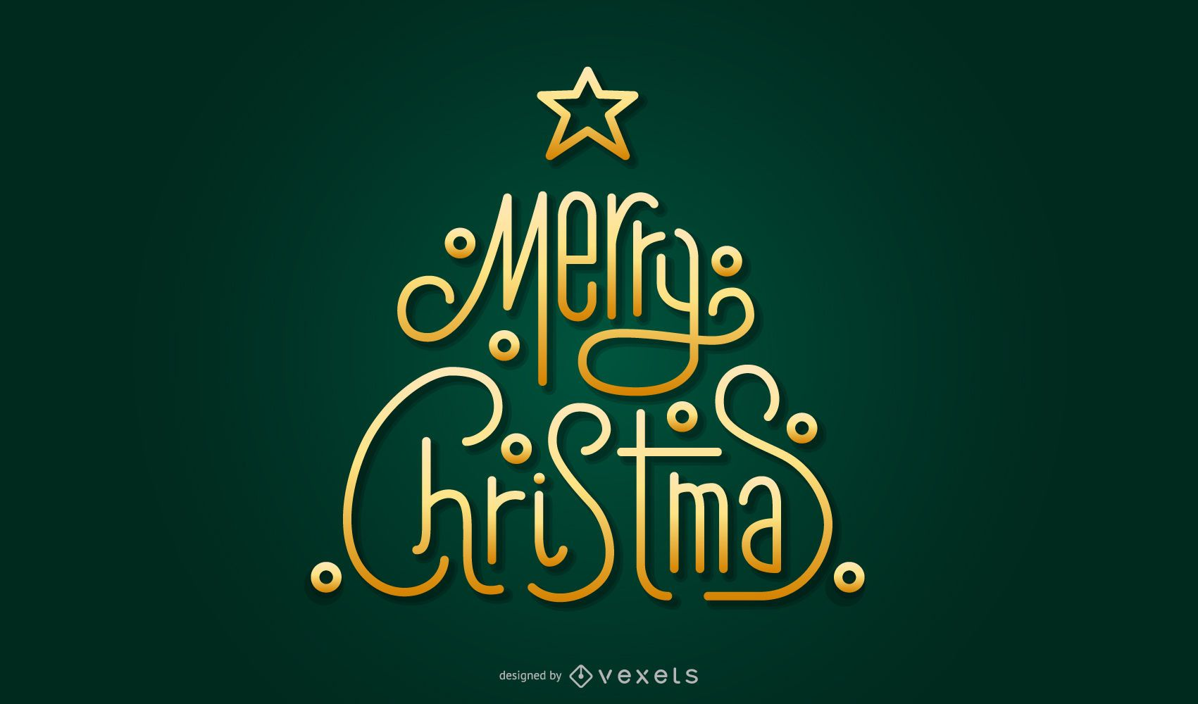 Gold Christmas Tree Lettering elements