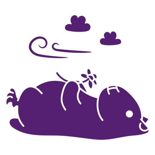 Laid down hamster with flower cut out
