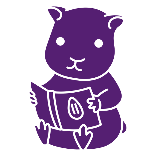 Cute hamster reading cut out