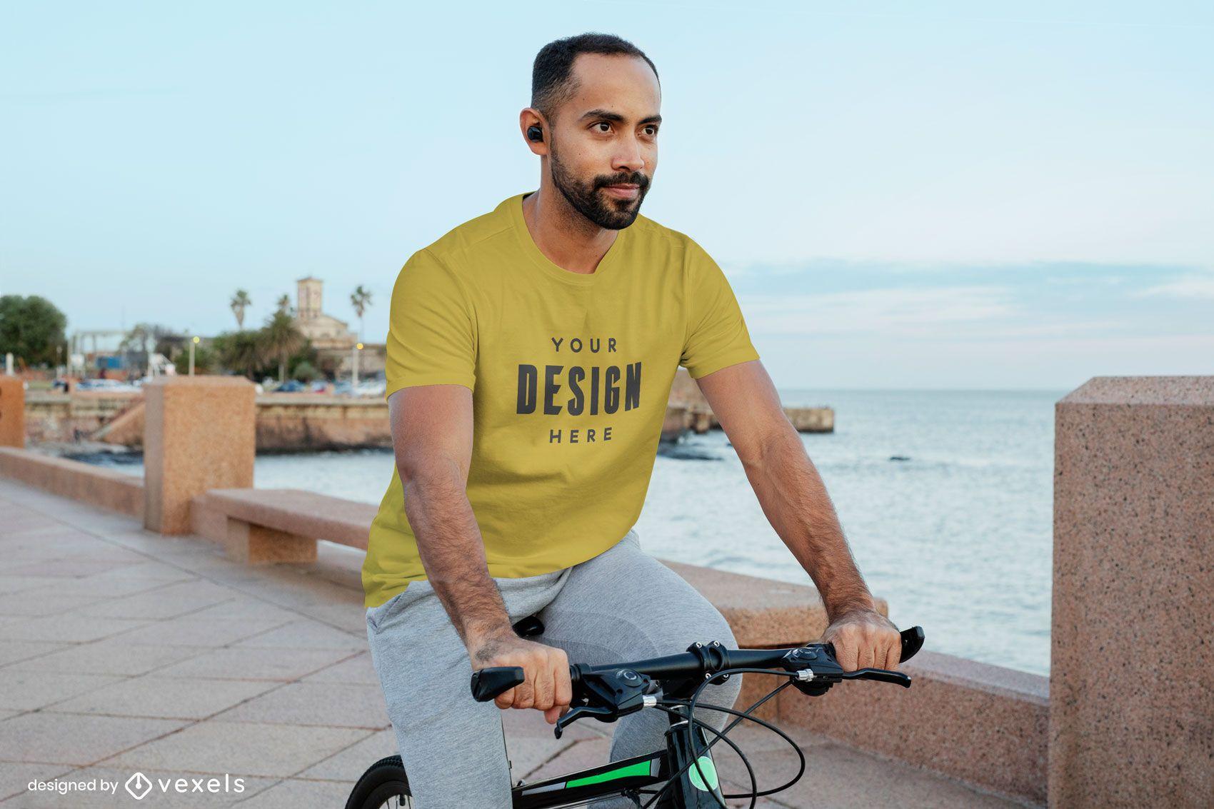 Model on bicycle t-shirt mockup