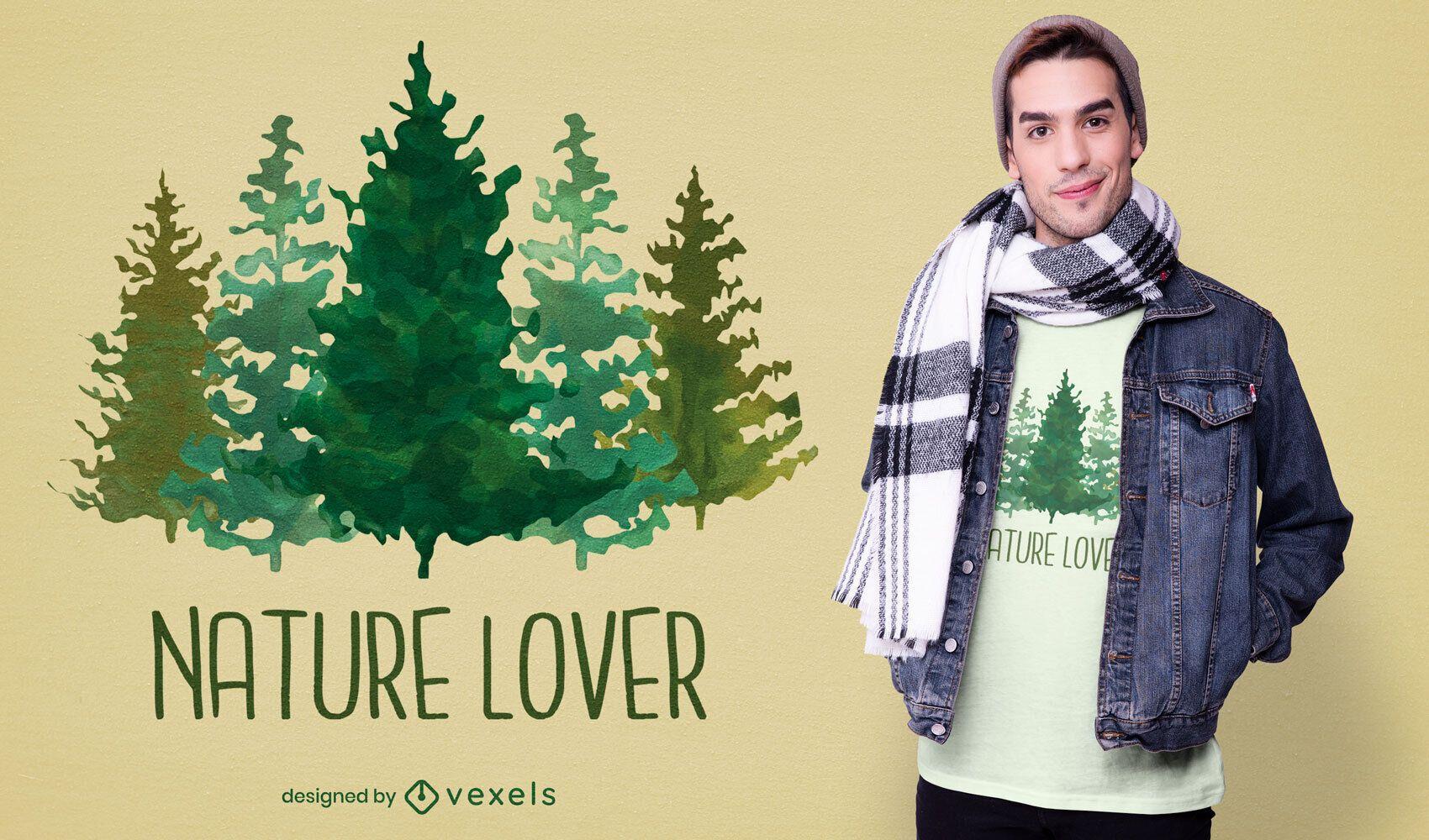 Camiseta de la naturaleza del bosque de los árboles de la acuarela psd