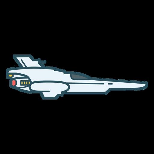 Spaceship flying color stroke