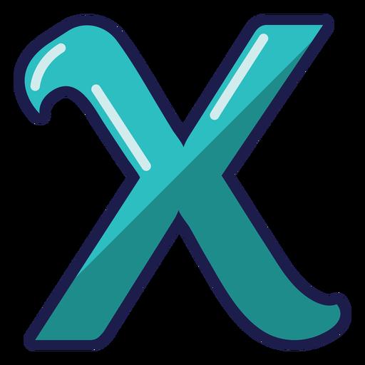 Curly X glossy alphabet