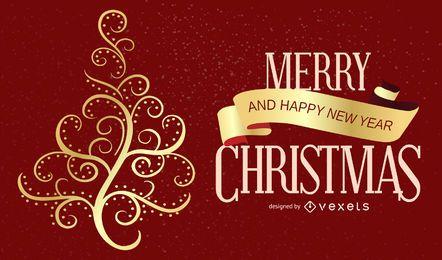 Gold Christmas Tree Swirl