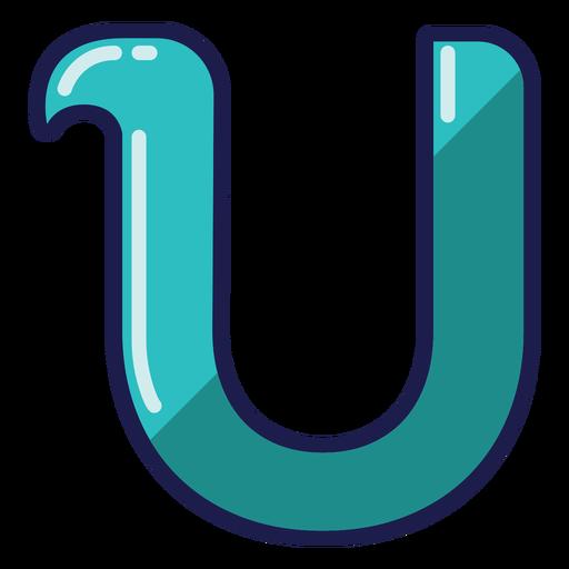 Curly U glossy alphabet
