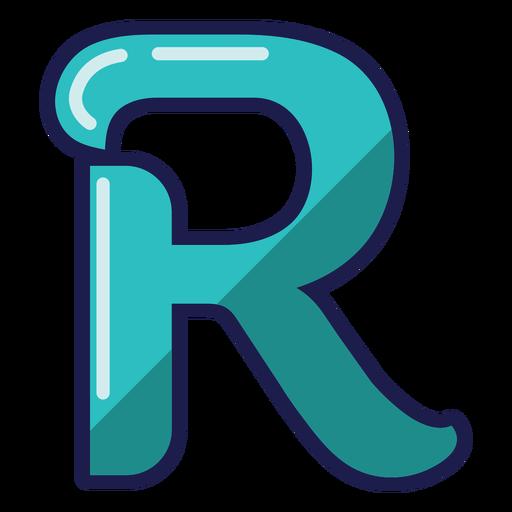 Curly R glossy alphabet