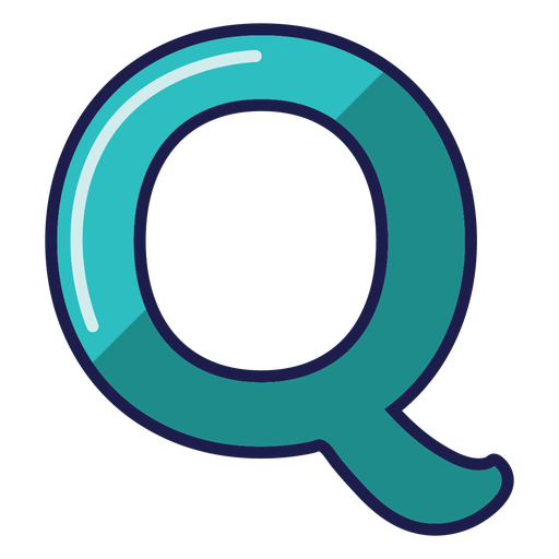 Curly Q glossy alphabet