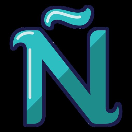 Curly N tilde glossy alphabet