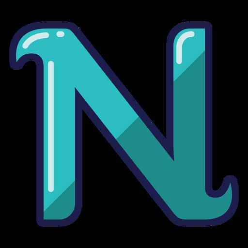 Curly N glossy alphabet