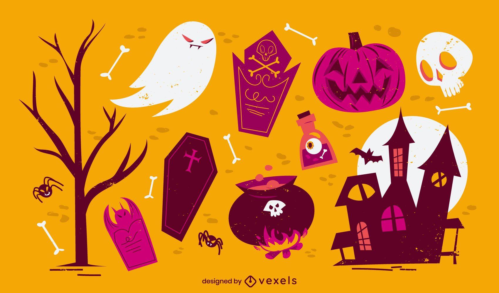 Halloween creepy cartoon elements set