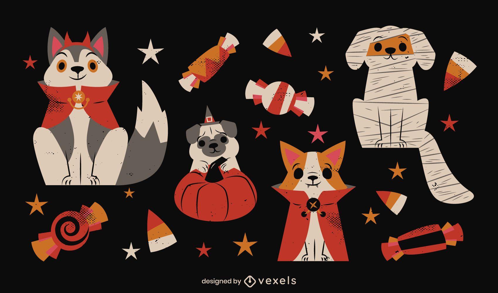 Perros en disfraces de halloween conjunto de elementos.