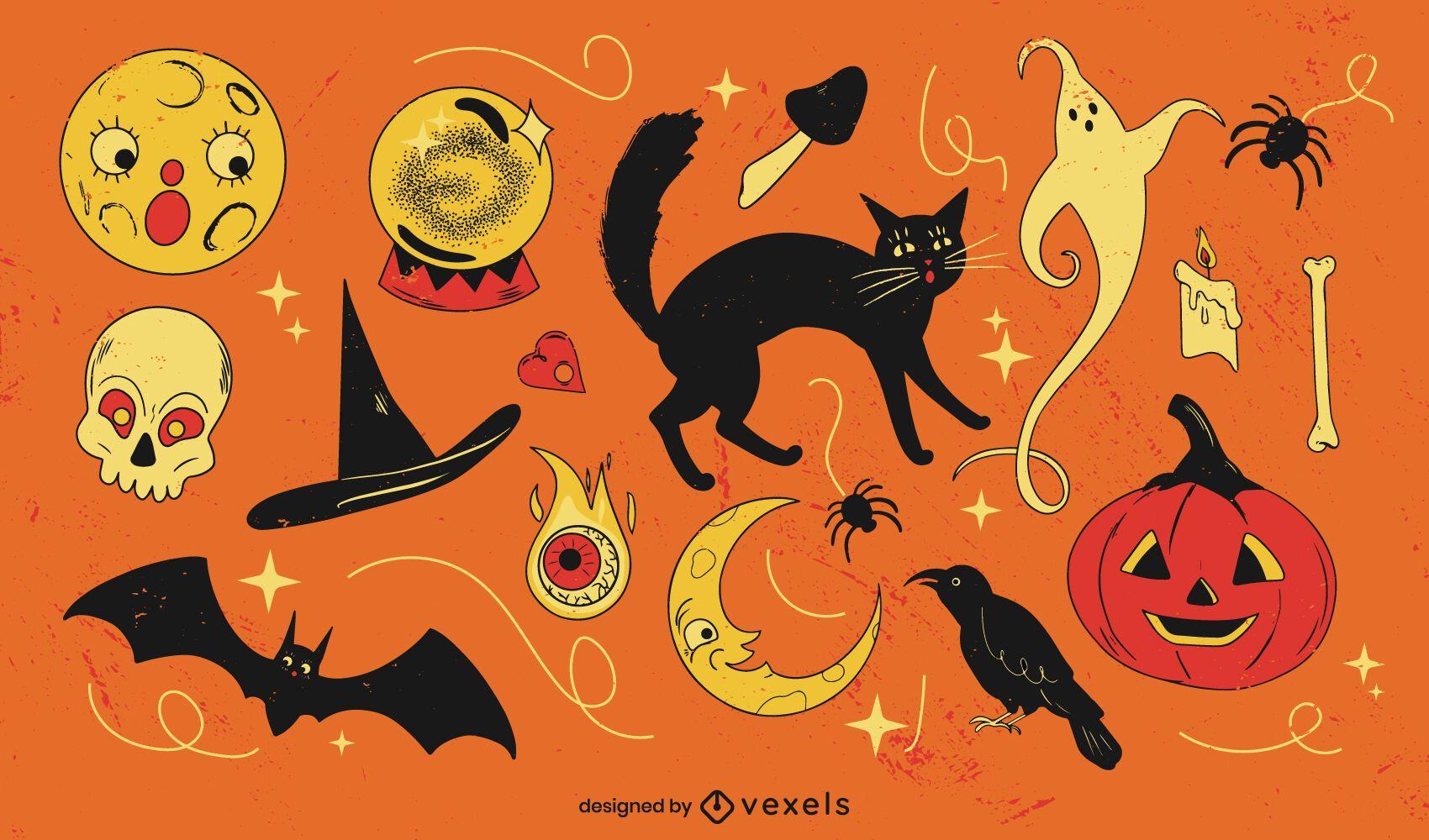 Conjunto de elementos de dibujos animados retro espeluznante de Halloween