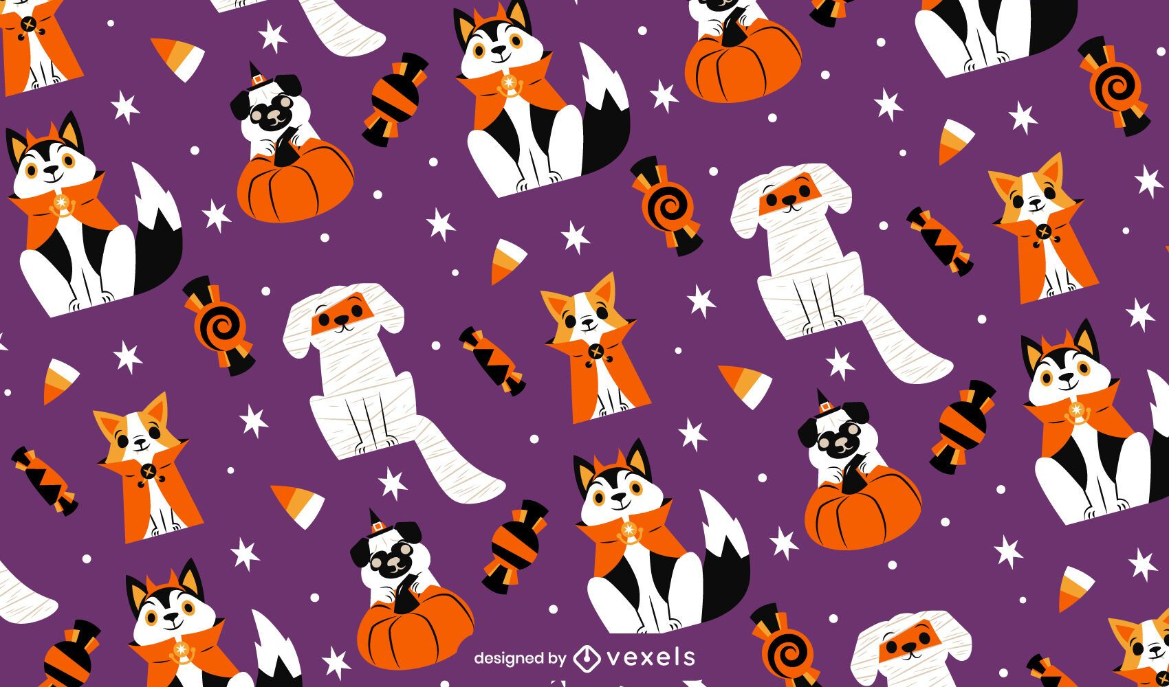 Dogs in halloween costumes pattern design
