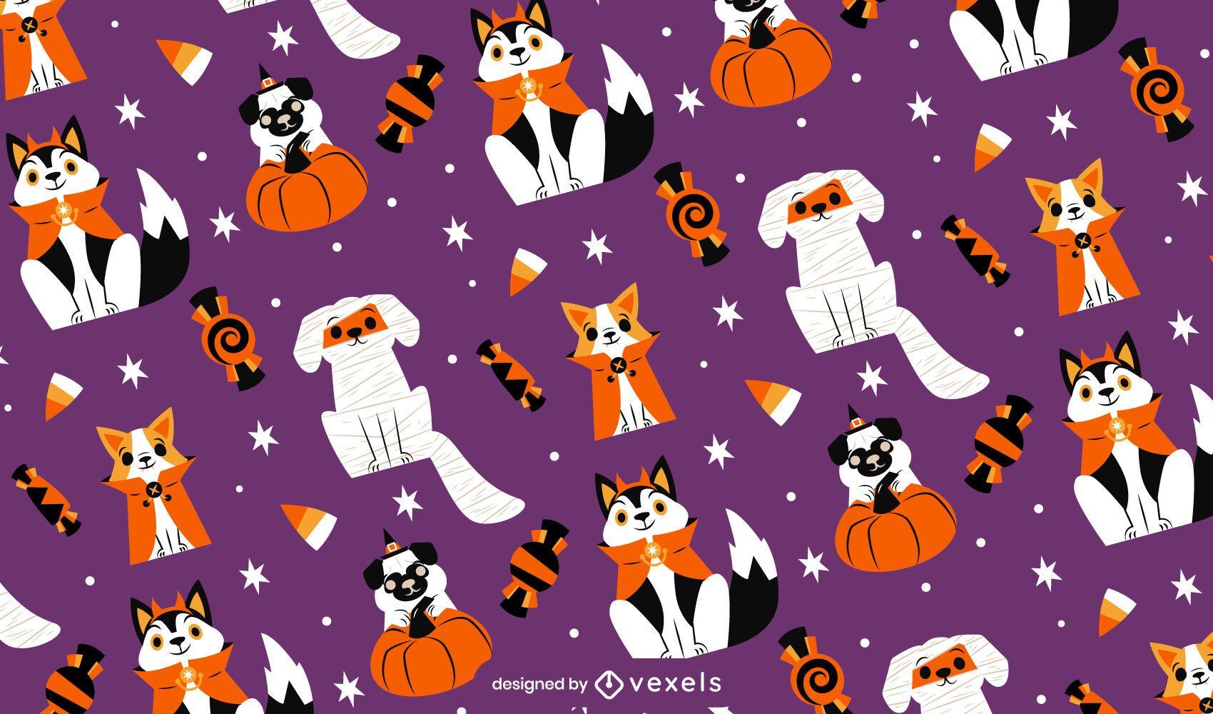 Perros en diseño de patrón de disfraces de halloween