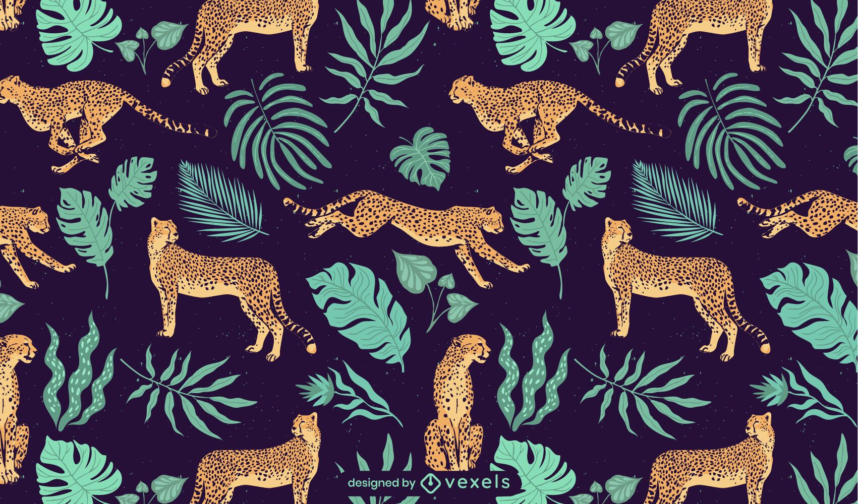 Cheetah and leaves tropical pattern