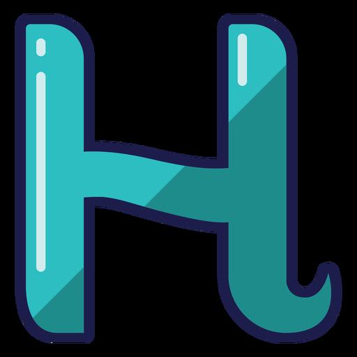 Curly H glossy alphabet