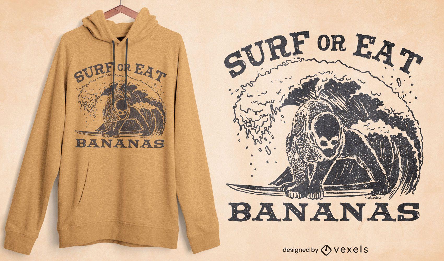 Diseño de camiseta de surf o comer plátanos.