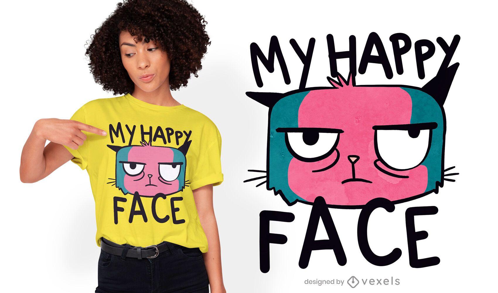 Design de t-shirt de desenho animado de gato mal-humorado