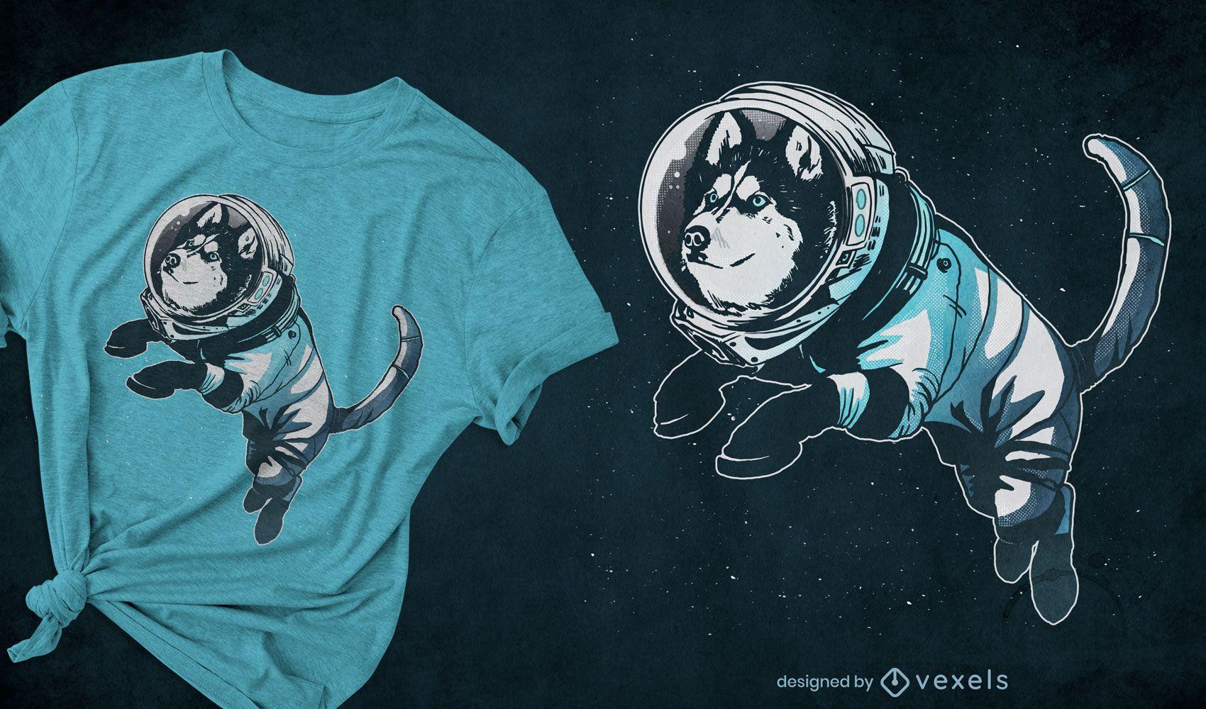 Design de t-shirt astronauta husky dog space