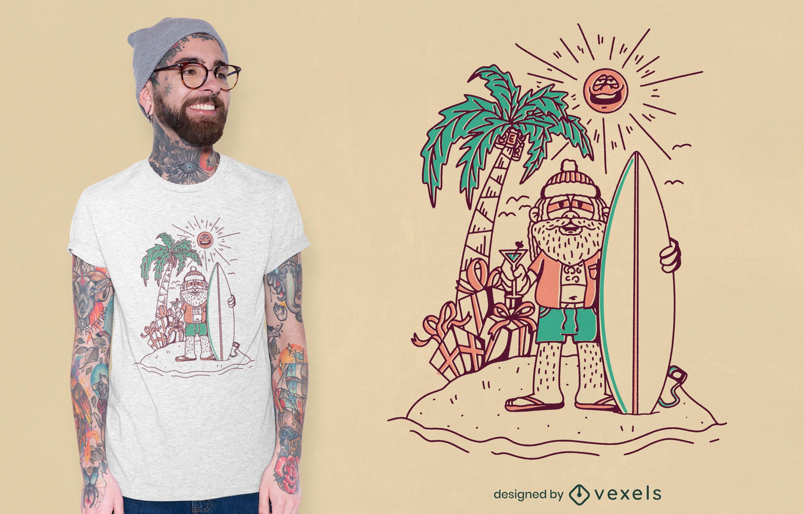 Diseño de camiseta surfista santa claus line art