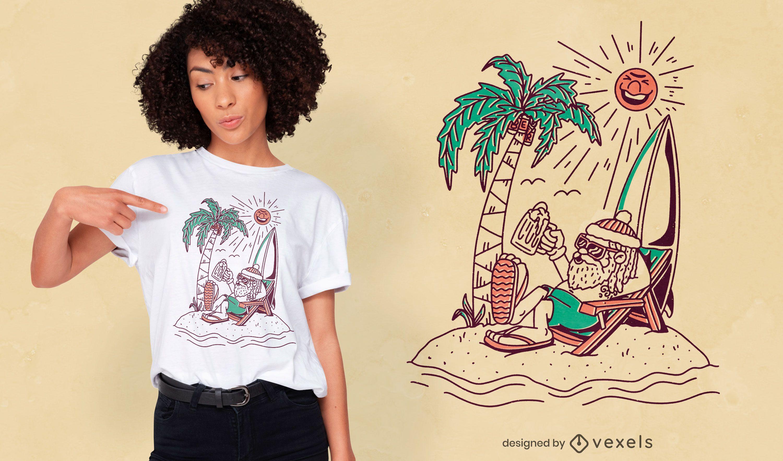 Design de t-shirt de verão praia do Pai Natal