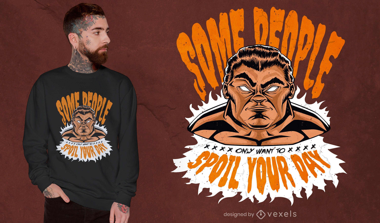 Homem zangado cita design de t-shirt em quadrinhos
