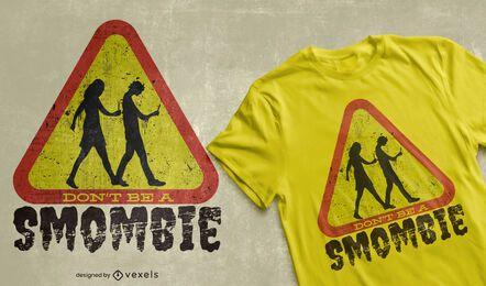 Cellphone zombie street sign t-shirt design