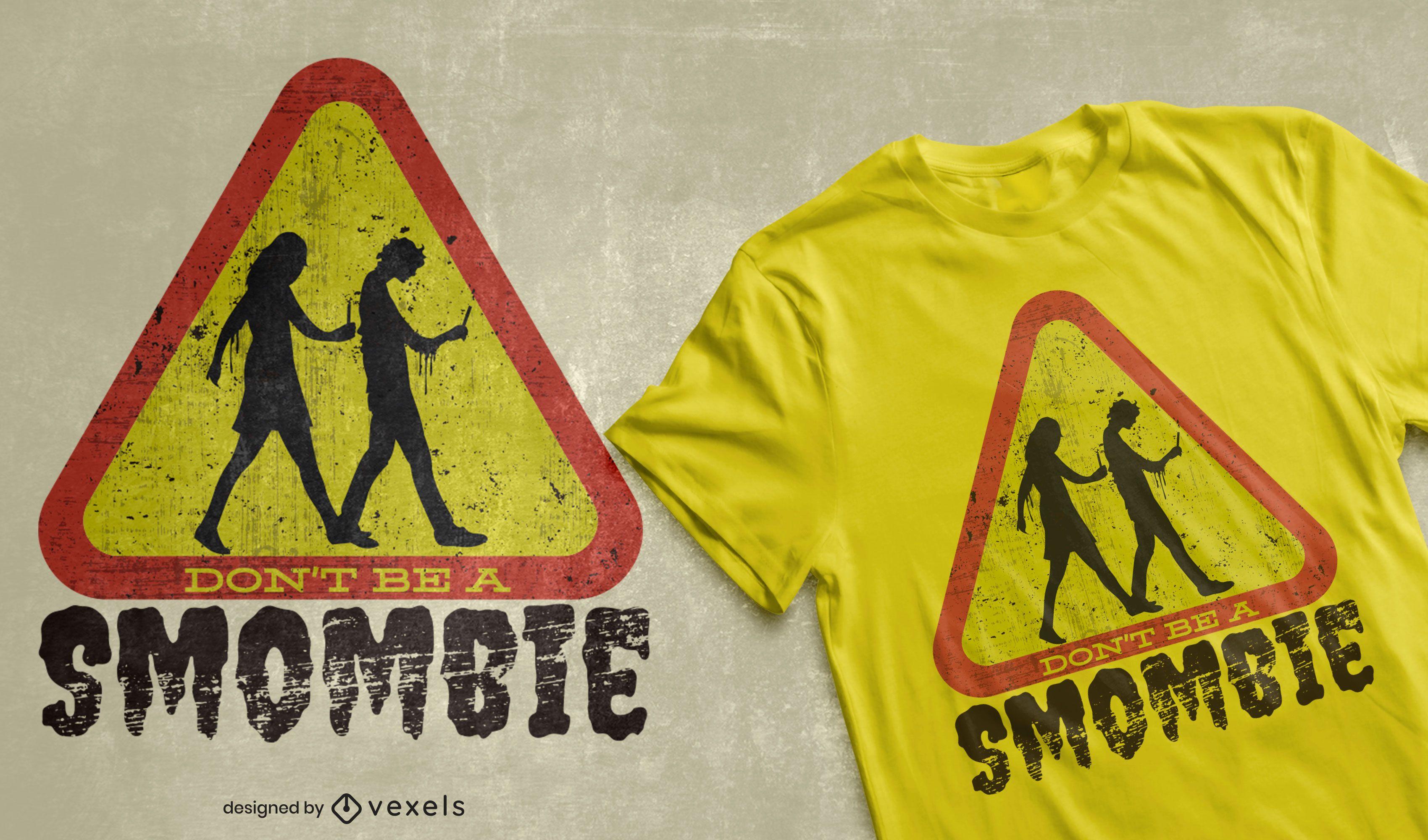 Handy-Zombie-Straßenschild-T-Shirt-Design