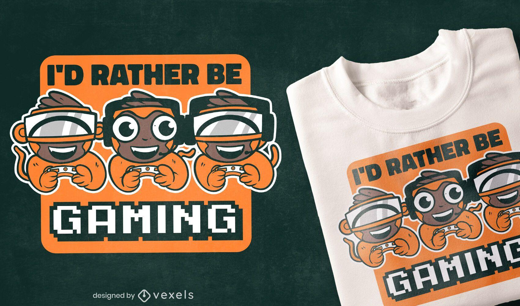 Diseño de camiseta de dibujos animados de monos de juego.