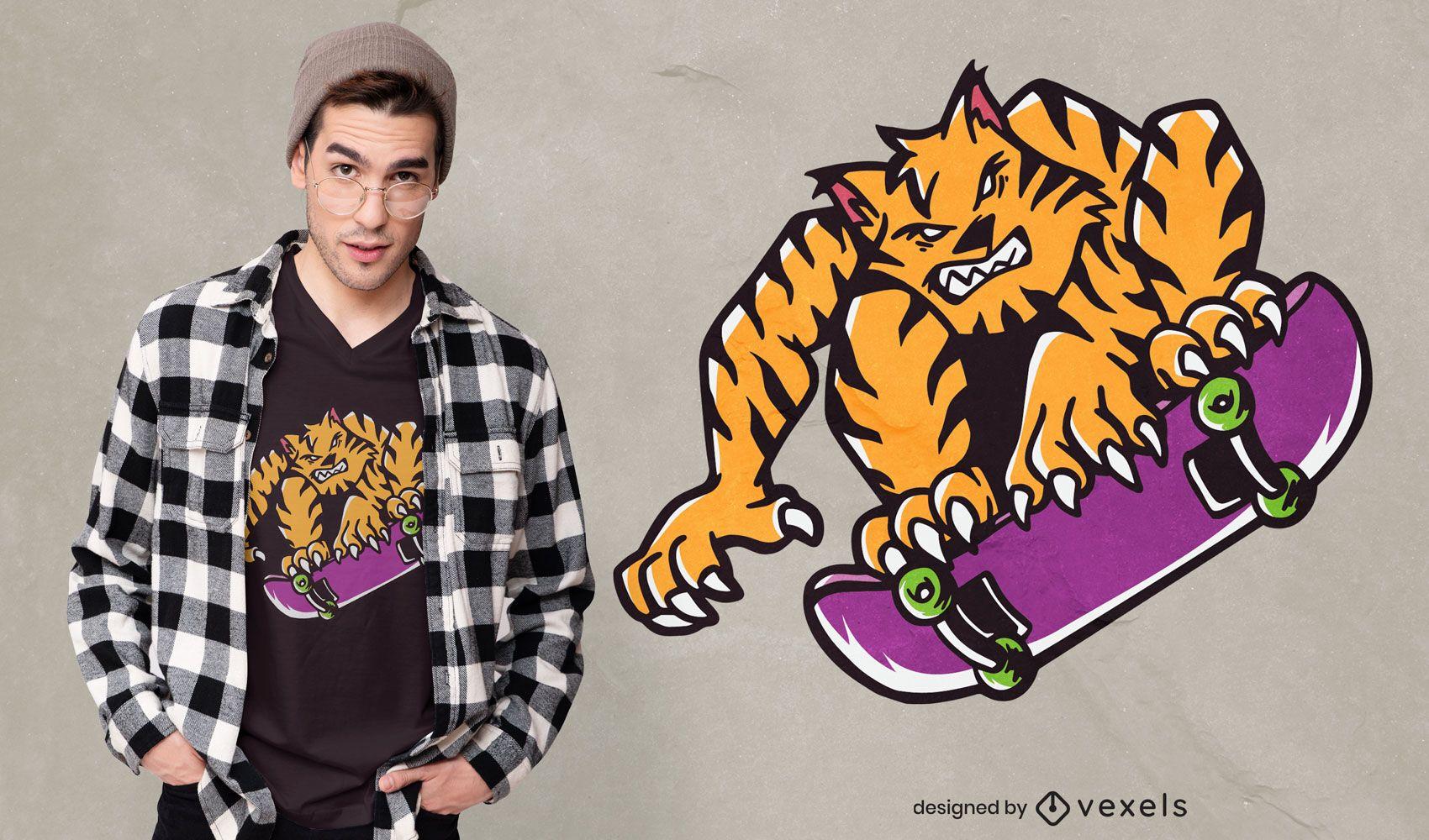 Diseño de camiseta de dibujos animados de monopatín de tigre