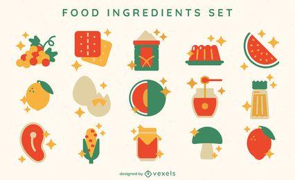 Food ingredients flat elements set