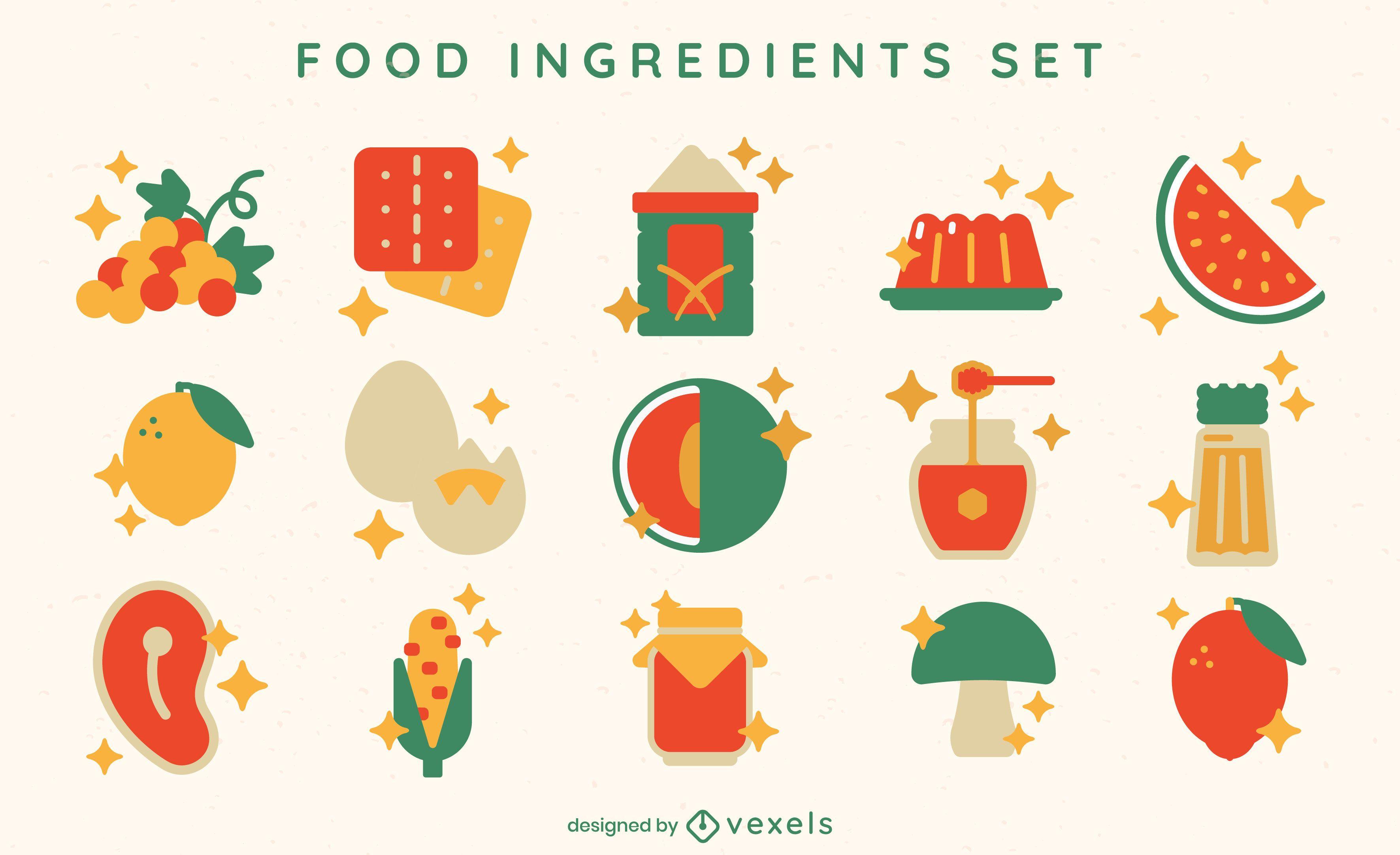 Conjunto de elementos planos de ingredientes alimentarios