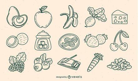 Conjunto de elementos dibujados a mano de ingredientes alimentarios