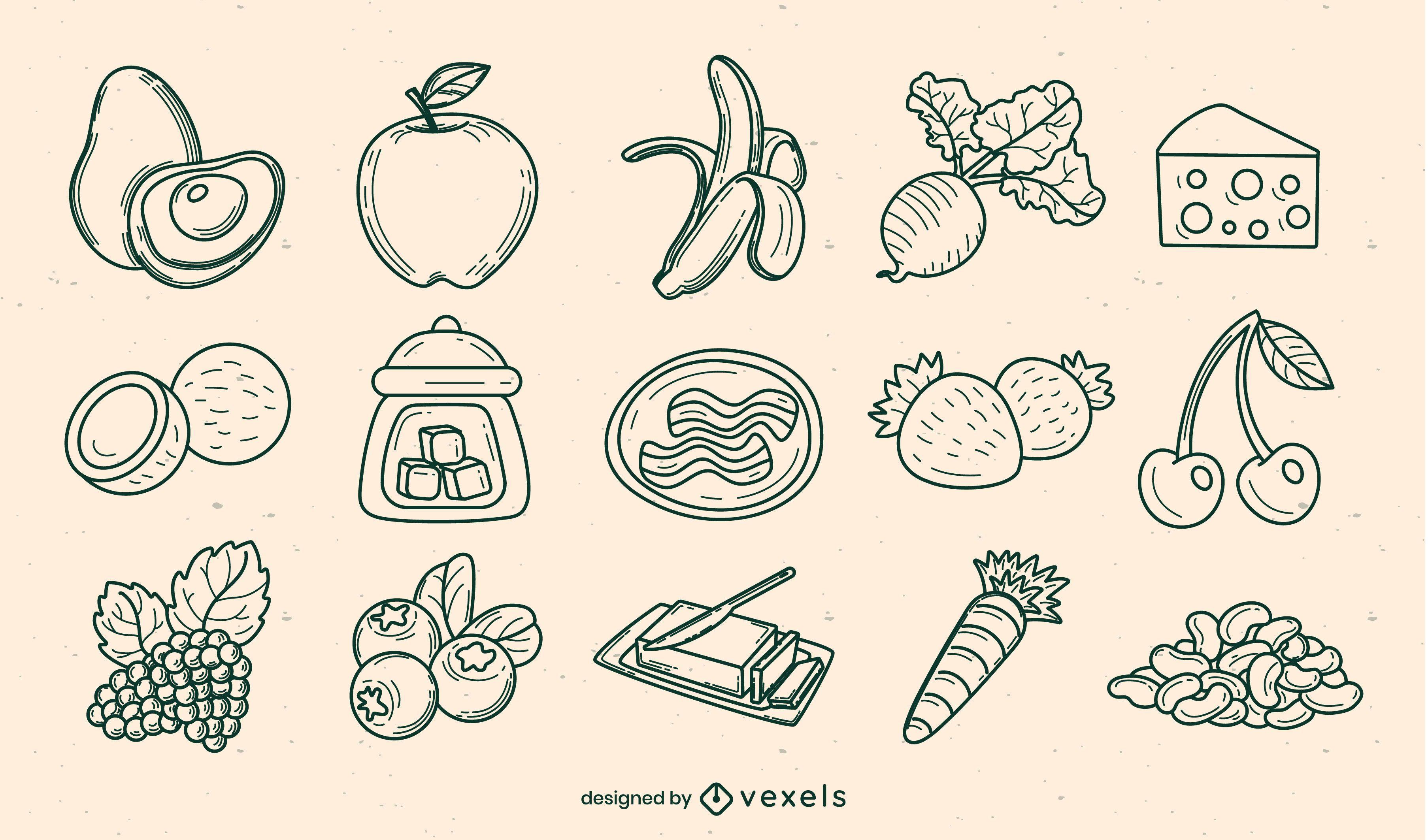 Conjunto de elementos desenhados à mão de ingredientes alimentares