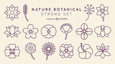 Minimal flowers botanical stroke set