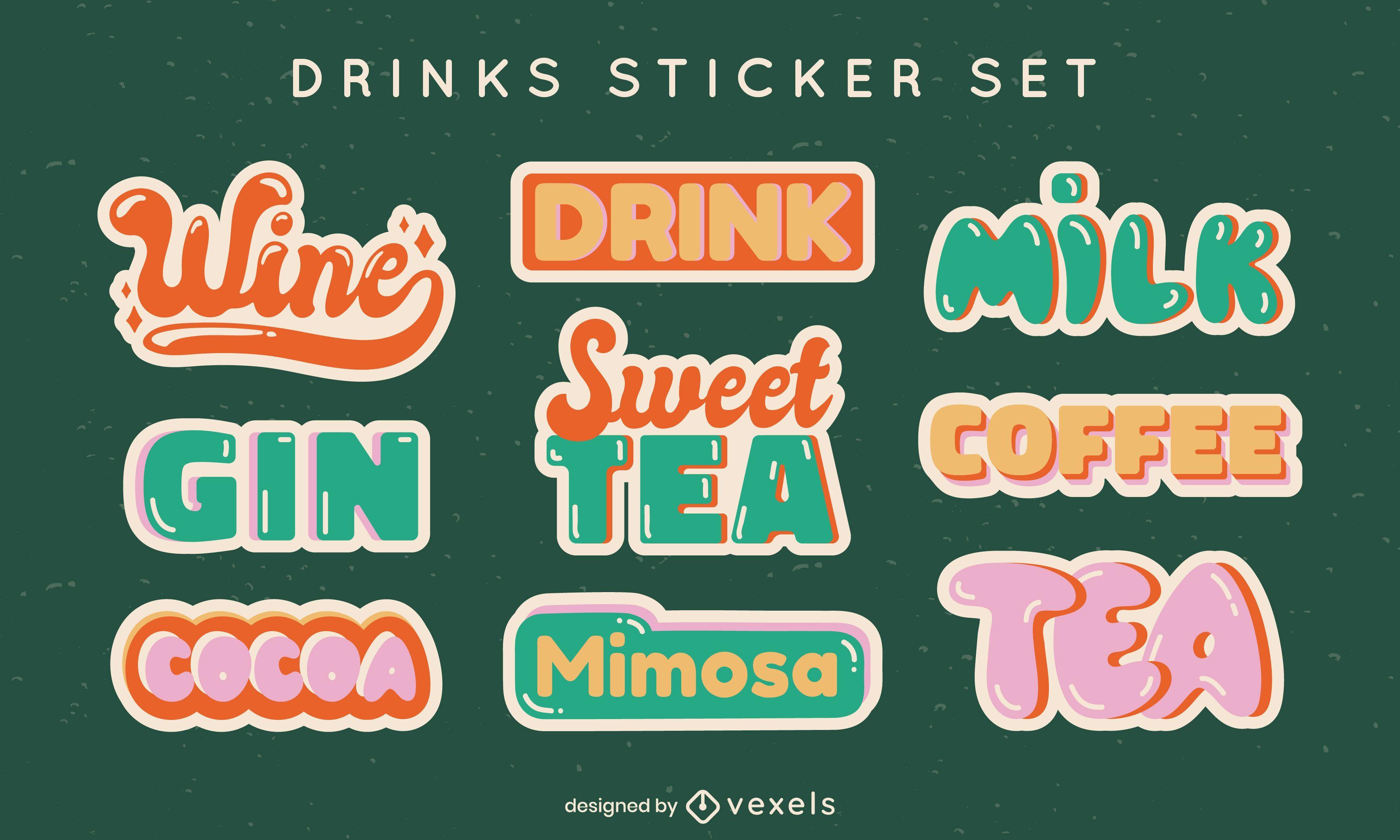 Conjunto de rótulos de bebidas com letras estilo retro