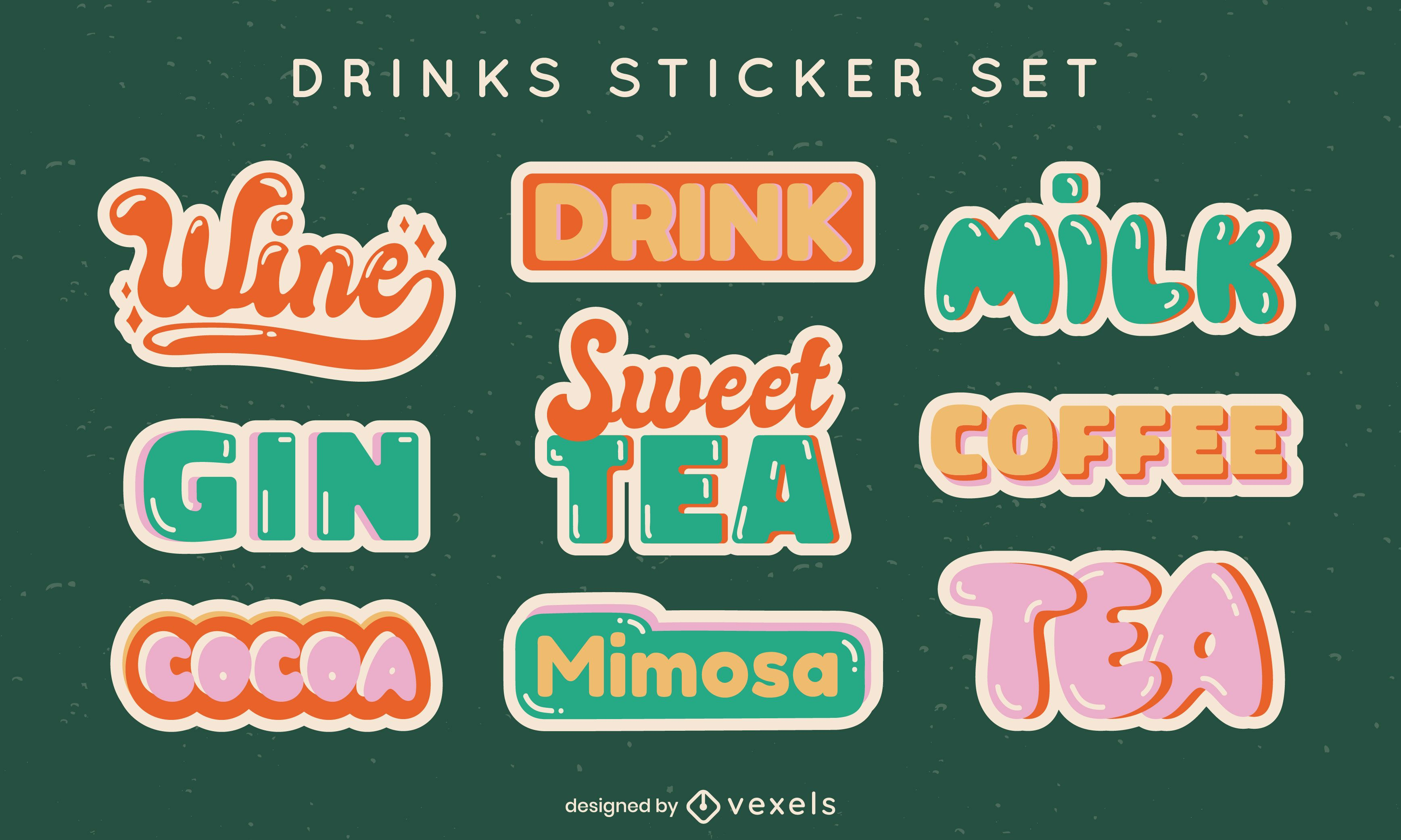 Drink labels lettering retro style set