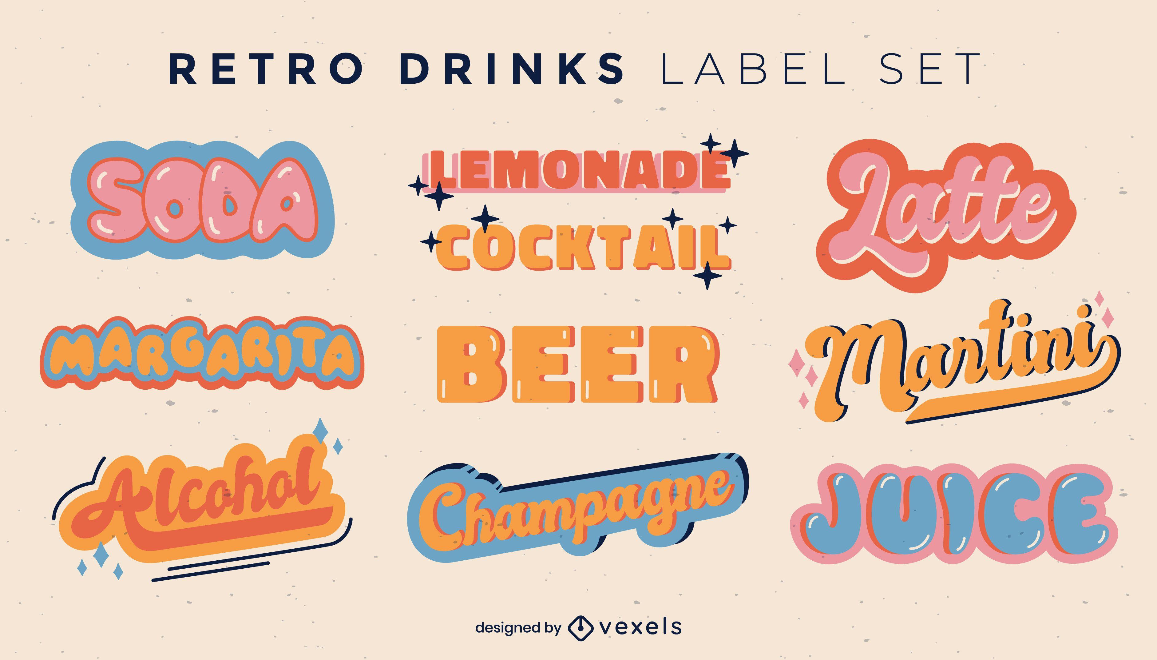 Drink labels retro lettering style set