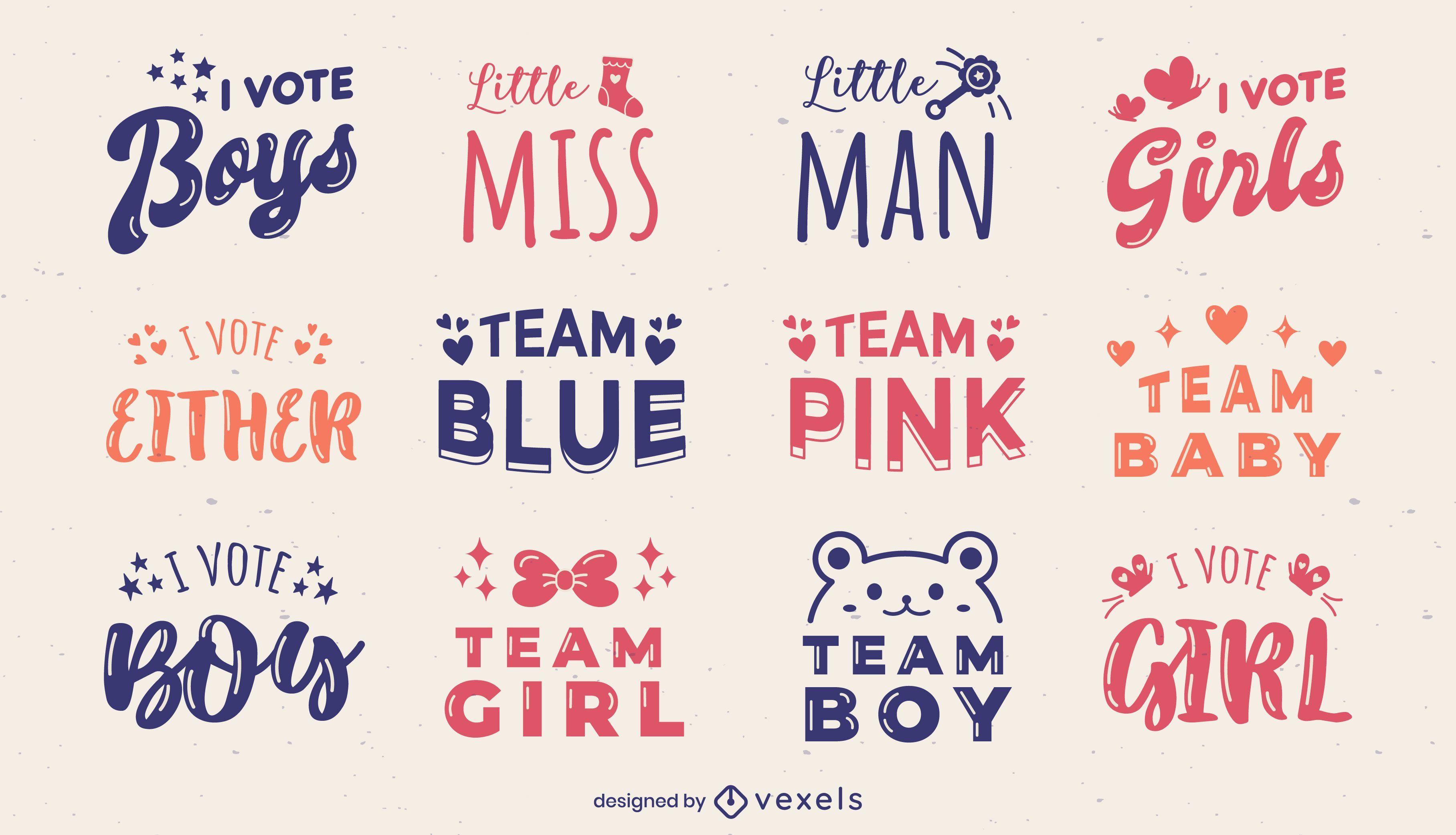 Gender reveal lettering badges set