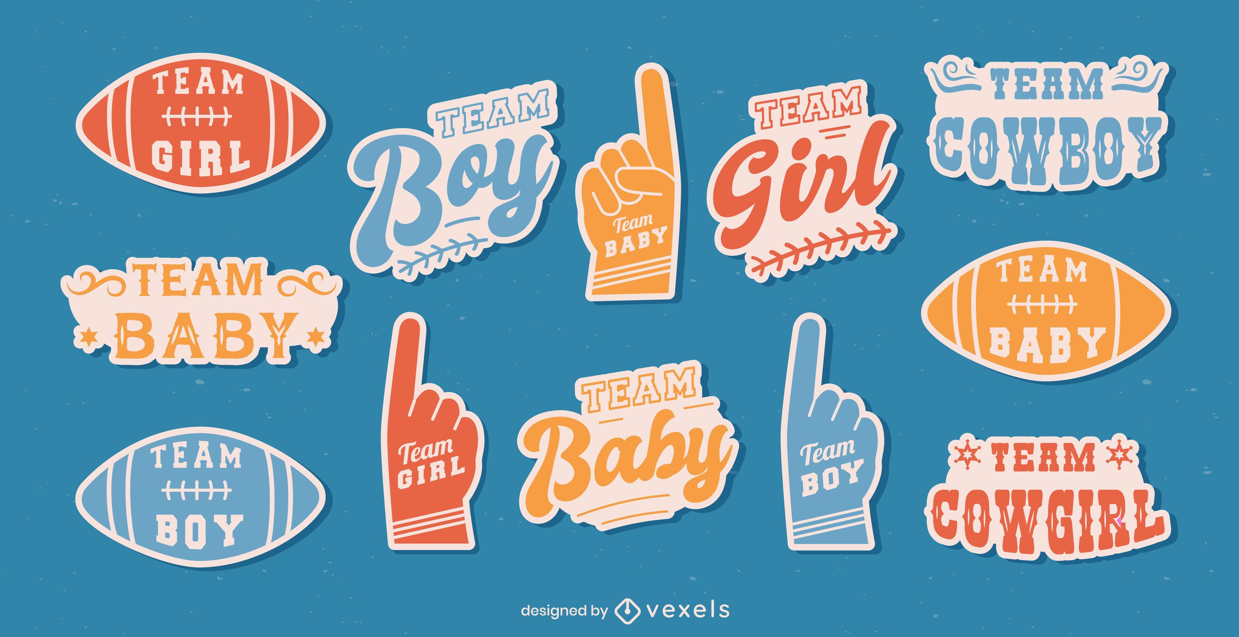 Gender reveal vintage lettering stickers set