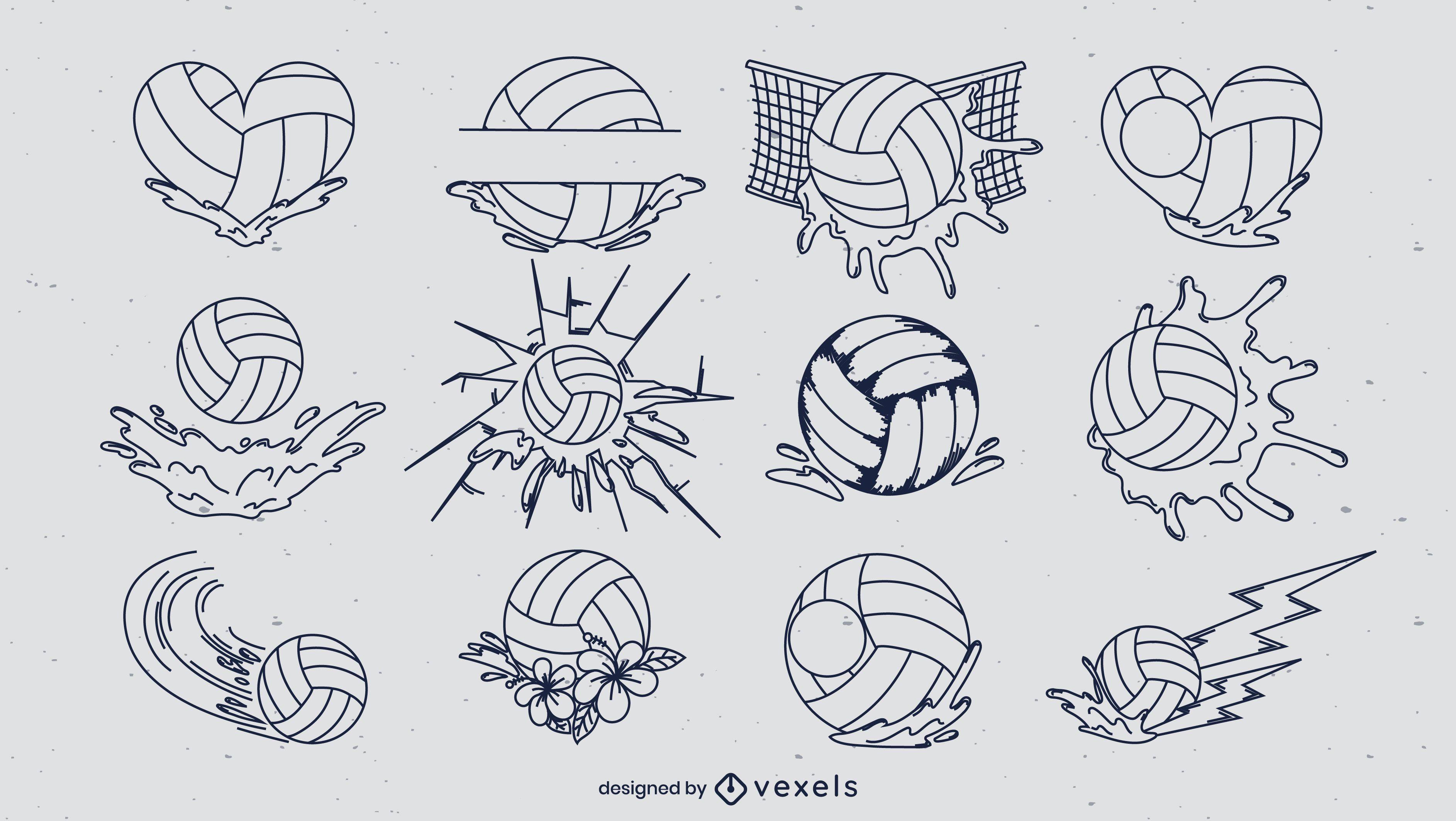 Conjunto de elementos de arte de linha de bola de pólo aquático